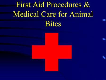 First Aid Procedures & Medical Care for Animal Bites.