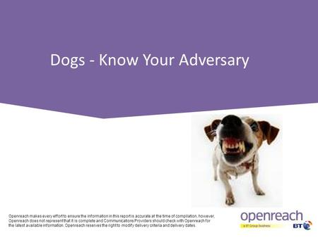 Dogs - Know Your Adversary Openreach makes every effort to ensure the information in this report is accurate at the time of compilation, however, Openreach.