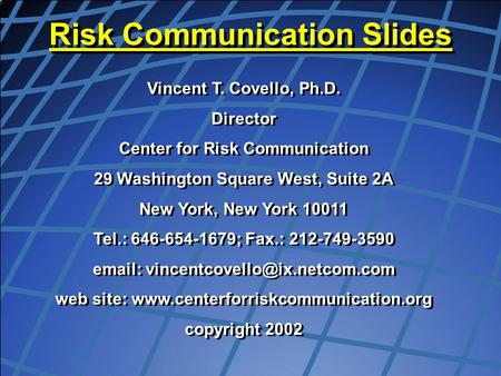 Risk Communication Slides