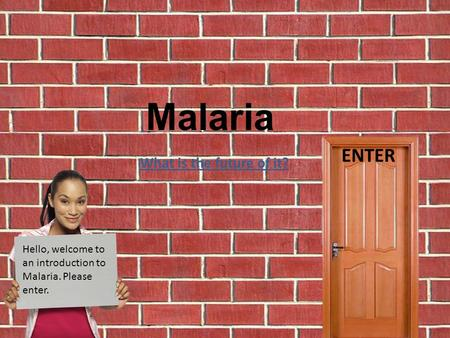 Hello, welcome to an introduction to Malaria. Please enter. Malaria ENTER What is the future of it?