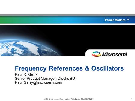 Frequency References & Oscillators