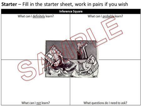 Starter – Fill in the starter sheet, work in pairs if you wish.