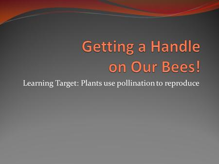 Learning Target: Plants use pollination to reproduce.