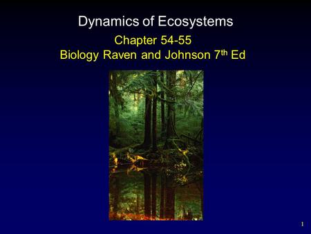 1 Dynamics of Ecosystems Chapter 54-55 Biology Raven and Johnson 7 th Ed.