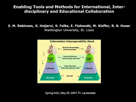 Enabling Tools and Methods for International, Inter- disciplinary and Educational Collaboration E. M. Robinson, K. Hoijarvi, S. Falke, E. Fialowski, M.