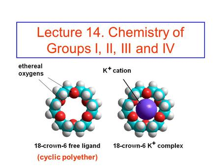 Lecture 14. Chemistry of Groups I, II, III and IV (cyclic polyether) ethereal oxygens.