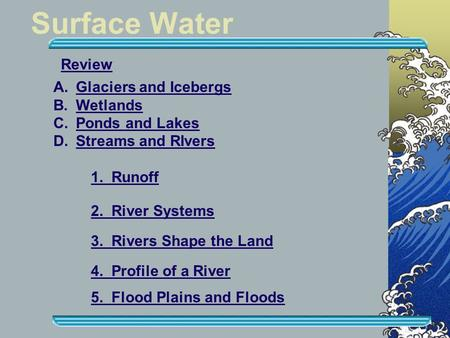 Surface Water Review Glaciers and Icebergs Wetlands Ponds and Lakes