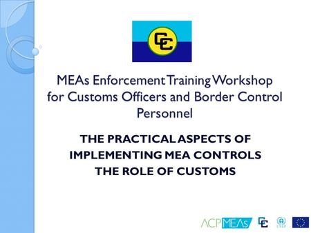 THE PRACTICAL ASPECTS OF IMPLEMENTING MEA CONTROLS THE ROLE OF CUSTOMS MEAs Enforcement Training Workshop for Customs Officers and Border Control Personnel.