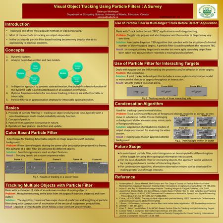 Visual Object Tracking Using Particle Filters : A Survey Satarupa Mukherjee Department of Computing Science, University of Alberta, Edmonton, Canada
