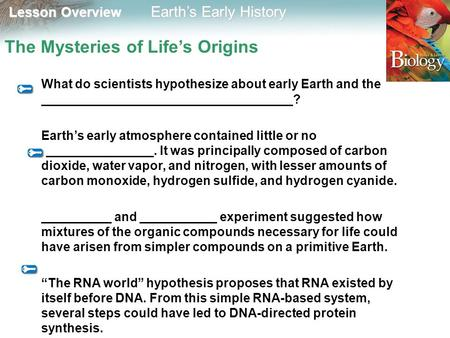 Lesson Overview Lesson Overview Earth's Early History The Mysteries of Life's Origins What do scientists hypothesize about early Earth and the ____________________________________?