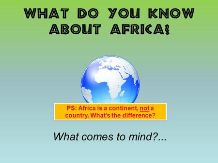 What do you know about Africa? What comes to mind?... PS: Africa is a continent, not a country. What's the difference?
