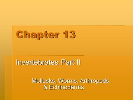 Chapter 13 Invertebrates Part II Mollusks, Worms, Arthropods & Echinoderms.