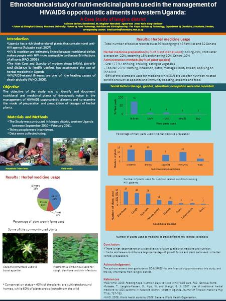 Ethnobotanical study of nutri-medicinal plants used in the management of HIV/AIDS opportunistic ailments in western Uganda : A Case Study of Isingiro district.