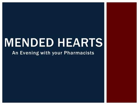An Evening with your Pharmacists MENDED HEARTS.  Specialty Practice Pharmacist  Electrophysiology MIKE BOYD, PHARM D.