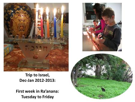 Trip to Israel, Dec-Jan 2012-2013: First week in Ra'anana: Tuesday to Friday.