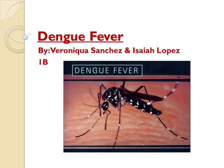 Dengue Fever By: Veroniqua Sanchez & Isaiah Lopez 1B.