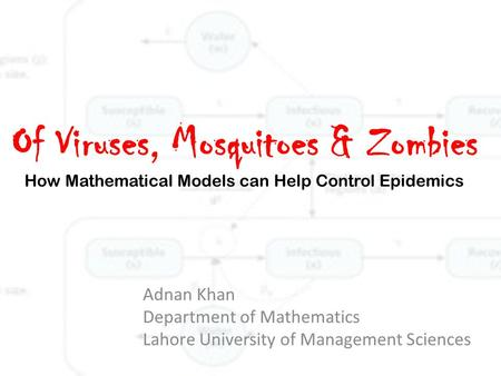 Of Viruses, Mosquitoes & Zombies How Mathematical Models can Help Control Epidemics Adnan Khan Department of Mathematics Lahore University of Management.