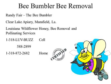 Bee Bumbler Bee Removal Randy Fair – The Bee Bumbler Clear Lake Apiary, Mansfield, La. Louisiana Wildflower Honey, Bee Removal and Pollinating Services.