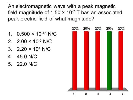An electromagnetic wave with a peak magnetic field magnitude of 1.50 × 10 -7 T has an associated peak electric field of what magnitude? 1.0.500 × 10 -15.