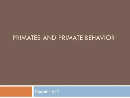 PRIMATES AND PRIMATE BEHAVIOR Chapter 6/7. Predisposition  The capacity or inclination to do something.  An organism's capacity for behavioral or anatomical.
