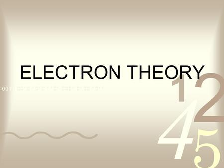 ELECTRON THEORY. We will start our discussion of electron theory with a few definitions. is anything that has mass and takes up space. Matter- The basic.