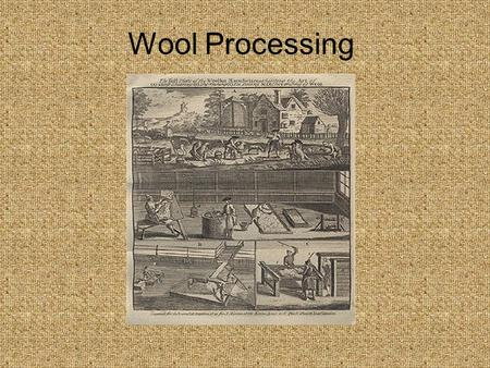 Wool Processing. Spinning with Clean Wool A. Wash Fleece Lithograph ca 1850.