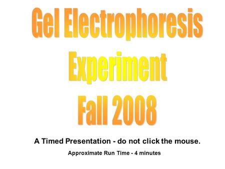 A Timed Presentation - do not click the mouse. Approximate Run Time - 4 minutes.