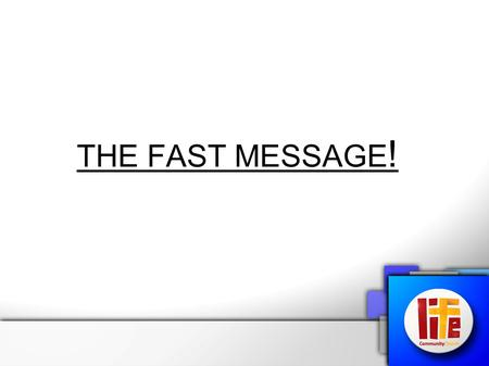 "THE FAST MESSAGE !. What did Jesus say? Matthew 6:16-18: ""And now about fasting. When you fast, declining your food for a spiritual purpose, don't do."