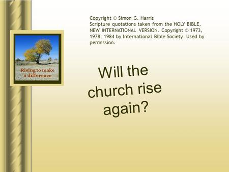 Rising to make a difference Will the church rise again? Copyright © Simon G. Harris Scripture quotations taken from the HOLY BIBLE, NEW INTERNATIONAL VERSION.
