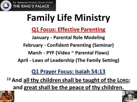 Family Life Ministry Q1 Focus: Effective Parenting