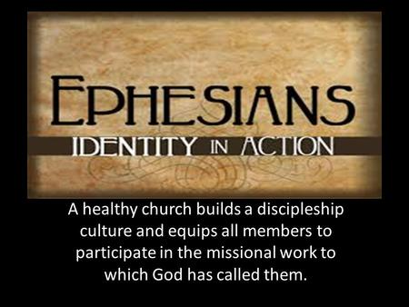 A healthy church builds a discipleship culture and equips all members to participate in the missional work to which God has called them.