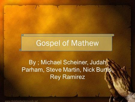 gospel of mark mathew The gospel according to matthew is the first book of the new testament and one  of the three synoptic gospels it tells how the messiah, jesus, rejected by israel,.