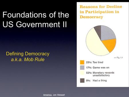 Defining Democracy a.k.a. Mob Rule Foundations of the US Government II America, Jon Stewart.