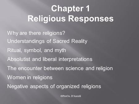 The Mythical conflict between science and Religion