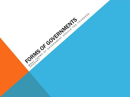 FORMS OF GOVERNMENTS WHAT FORMS OF GOVERNMENT SHOULD THE FOUNDERS CHOOSE?