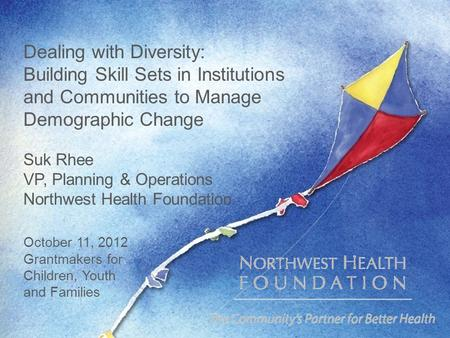 Dealing with Diversity: Building Skill Sets in Institutions and Communities to Manage Demographic Change Suk Rhee VP, Planning & Operations Northwest Health.
