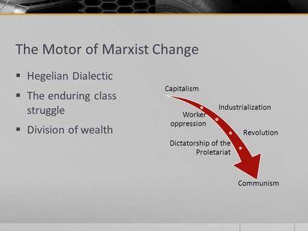 The Motor of Marxist Change  Hegelian Dialectic  The enduring class struggle  Division of wealth Capitalism Industrialization Worker oppression Revolution.
