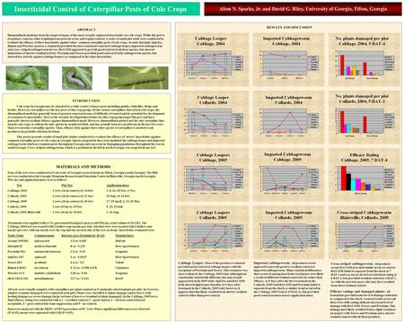 Insecticidal Control of Caterpillar Pests of Cole Crops Alton N. Sparks, Jr. and David G. Riley, University of Georgia, Tifton, Georgia INTRODUCTION Cole.