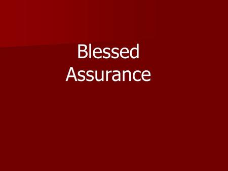 "Blessed Assurance. The Parable of the Pursuing Father ""The Prodigal Son"""
