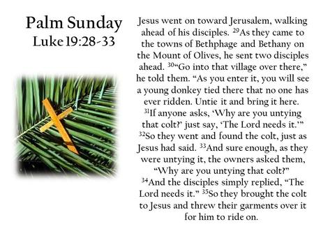 Palm Sunday Luke 19:28-33 Jesus went on toward Jerusalem, walking ahead of his disciples. 29 As they came to the towns of Bethphage and Bethany on the.