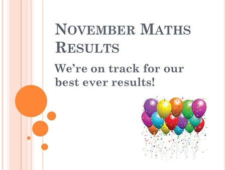 N OVEMBER M ATHS R ESULTS We're on track for our best ever results!