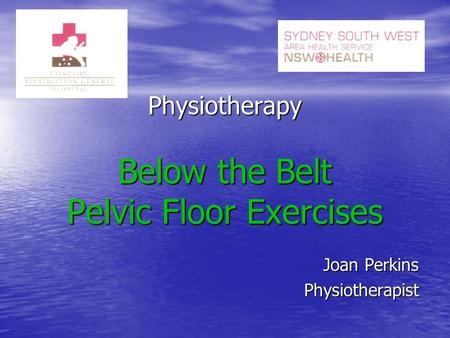 Physiotherapy Below the Belt Pelvic Floor Exercises Joan Perkins Physiotherapist.