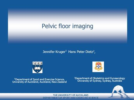 Pelvic floor imaging Jennifer Kruger 1 Hans Peter Dietz 2, 1 Department of Sport and Exercise Science, University of Auckland, Auckland, New Zealand THE.