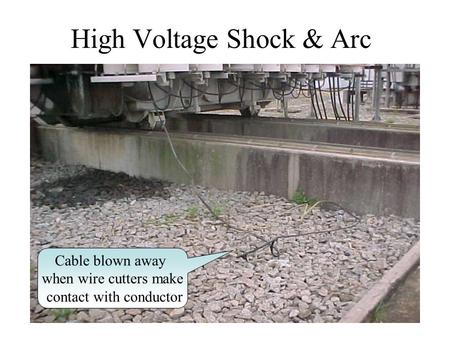 High Voltage Shock & Arc Cable blown away when wire cutters make contact with conductor.