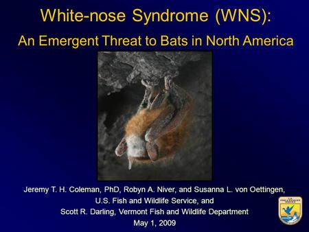 White-nose Syndrome (WNS): An Emergent Threat to Bats in North America Jeremy T. H. Coleman, PhD, Robyn A. Niver, and Susanna L. von Oettingen, U.S. Fish.