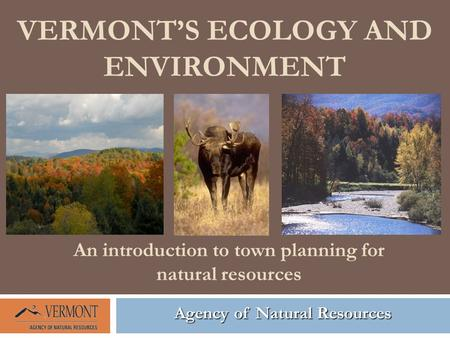 VERMONT'S ECOLOGY AND ENVIRONMENT Agency of Natural Resources An introduction to town planning for natural resources.