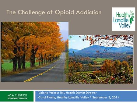 The Challenge of Opioid Addiction Valerie Valcour RN, Health District Director Carol Plante, Healthy Lamoille Valley * September 3, 2014.