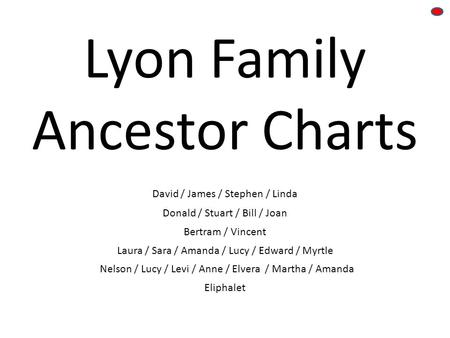 Lyon Family Ancestor Charts David / James / Stephen / Linda Donald / Stuart / Bill / Joan Laura / Sara / Amanda / Lucy / Edward / Myrtle Bertram / Vincent.