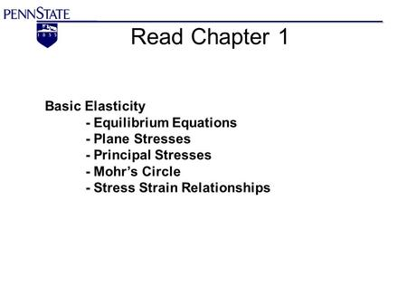 Read Chapter 1 Basic Elasticity - Equilibrium Equations