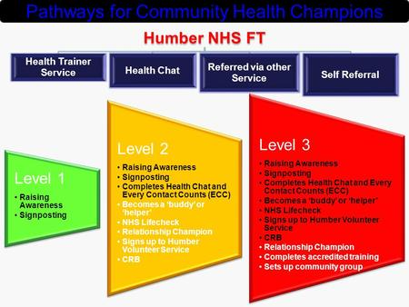 Humber NHS FT Health Trainer Service Health Chat Referred via other Service Self Referral Pathways for Community Health Champions Level 1 Raising Awareness.